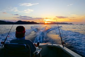 Panama Central America boat fishing sunset